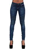 ieftine Pantaloni de Damă-Pentru femei Sofisticat / Exagerat Mărime Plus Size Bumbac Subțire Blugi Pantaloni - Mată Ruched Talie Joasă Albastru piscină / Sexy