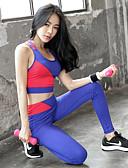 ieftine Rochii Maxi-Pentru femei Peteci 2pcs Costum de yoga - Negru, Albastru Sport Bloc Culoare Spandex, Plasă Sutienul de sus / Pantaloni drăguț Dans, Alergat, Fitness Îmbrăcăminte de Sport  3D Pad, Respirabil, Butt