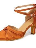 billige Sokker og strømper-Dame Moderne sko Sateng Høye hæler Sløyfe / Spenne Kubansk hæl Kan spesialtilpasses Dansesko Brun