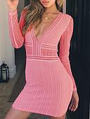 hesapli Mini Elbiseler-Kadın's İnce Bandaj Elbise Derin V Diz üstü / Sexy