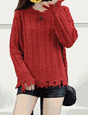cheap Women's Sweaters-Women's Daily Solid Colored Long Sleeve Loose Regular Pullover Black / Orange / Yellow One-Size