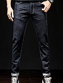 billige Herreskjorter-Herre Grunnleggende Jeans Bukser - Ensfarget Blå