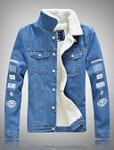 baratos Vestidos de Festa-Homens Tamanhos Grandes Jaqueta jeans Básico / Moda de Rua - Letra, Ganga Delgado / Manga Longa