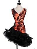hesapli Latin Dans Giysileri-Latin Dansı Elbiseler Kadın's Eğitim Splandeks / Tül Kristaller / Yapay Elmaslar Uzun Kollu Yüksek Elbise