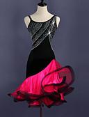 رخيصةأون ملابس رقص لاتيني-الرقص اللاتيني الفساتين نسائي التدريب سباندكس / تول كريستال / أحجار الراين بدون كم ارتفاع عال فستان