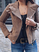 cheap Women's Leather & Faux Leather Jackets-Women's Daily Basic Plus Size Regular Jacket, Solid Colored Notch Lapel Long Sleeve Polyester Green / Black / Pink XXXL / 4XL / XXXXXL