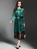 baratos Vestidos Femininos-Mulheres Elegante Evasê Vestido - Renda, Estampa Colorida Longo