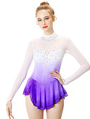 cheap Ice Skating Dresses , Pants & Jackets-Figure Skating Dress Women's / Girls' Ice Skating Dress Violet Halo Dyeing Spandex, Stretch Yarn, Lace High Elasticity Professional / Competition Skating Wear Handmade Fashion Long Sleeve Ice Skating