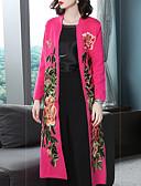 baratos Casacos e Capas de Chuva-Mulheres Casaco Vintage / Temática Asiática - Floral / Botânico Bordado