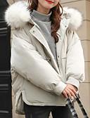 זול מעילי פוך ומעילי פרקה לנשים-M / L / XL לבן / שחור / ורוד מסמיק עם קפוצ'ון פולי, מעיל פוך רגיל רגיל שרוול ארוך אחיד בסיסי יומי בגדי ריקוד נשים