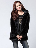 cheap Women's Fur & Faux Fur Coats-Women's Street chic Plus Size Fur Coat - Solid Colored