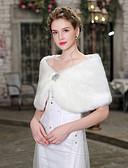 hesapli Gelin Şalları-Kolsuz Suni Kürk Düğün / Doğum Dünü Kadın Eşarpları İle Kristal Çiçek İğneleri Mini Pelerinler