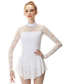 cheap Ice Skating Dresses , Pants & Jackets-Figure Skating Dress / Figure Skating Pants / Figure Skating Jacket with Pants Women's / Girls' Ice Skating Dress White Spandex, Stretch Yarn High Elasticity Professional / Competition Skating Wear