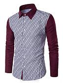 baratos Camisas Masculinas-Homens Camisa Social Activo / Básico Listrado / Estampa Colorida