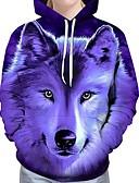 cheap Men's Tees & Tank Tops-Men's Plus Size Long Sleeve Loose Hoodie - 3D Wolf, Print Hooded Lavender XXL / Fall / Winter