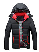 cheap Men's Downs & Parkas-Men's Daily Basic Solid Colored Plus Size Regular Padded, Polyester Long Sleeve Winter Hooded Blue / Black / Red XXXL / XXXXL / XXXXXL