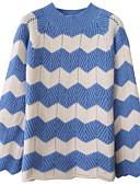 povoljno Bluza-Žene Dnevno Ulični šik Color block Dugih rukava Regularna Pullover, Okrugli izrez Plava / Crn / Bijela One-Size