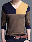 cheap Women's Blouses-Men's Daily Color Block Long Sleeve Plus Size Regular Pullover, V Neck Green / Red / Yellow XXL / XXXL / XXXXL