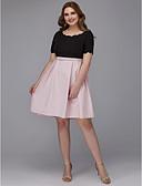 billige Ballkjoler-A-linje Besmykket Knelang Elastisk sateng Kjole med Belte / bånd av TS Couture® / Cocktailfest / Skoleball
