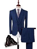 זול חליפות-מעוטר גזרה מחוייטת צמר / פוליסטר חליפה - פתוח Single Breasted One-button / Single Breasted Two-button / חליפות