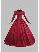 Χαμηλού Κόστους Λουλουδάτα φορέματα για κορίτσια-Victorian Μεσαίωνα 18ος αιώνας Στολές Γυναικεία Φορέματα Κοστούμι πάρτι Χορός μεταμφιεσμένων Τουαλέτα Κόκκινο Πεπαλαιωμένο Cosplay Δαντέλα Πάρτι Χοροεσπερίδα Μακρυμάνικο Μακρύ Μήκος Βραδινή τουαλέτα