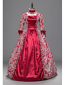 cheap Petticoats-Rococo Victorian Costume Women's Party Costume Red Vintage Cosplay Padded Fabric 3/4 Length Sleeve Ankle Length Ball Gown Plus Size Customized
