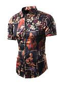 baratos Camisas Masculinas-Homens Camisa Social Vintage / Básico Geométrica Algodão / Manga Curta