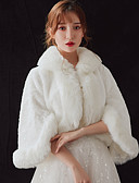 cheap Wedding Wraps-3/4 Length Sleeve Faux Fur Wedding / Party / Evening Women's Wrap With Patterned Coats / Jackets