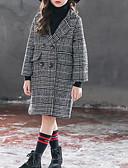 זול שמלות לבנות-ז'קט ומעיל כותנה שרוול ארוך משובץ בסיסי בנות ילדים