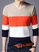 preiswerte Herren T-Shirts & Tank Tops-Herrn Alltag Einfarbig Langarm Standard Pullover Kamel / Marineblau / Wein XL / XXL / XXXL