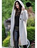 olcso Női pulóverek-Női Napi Alap Hosszú Kabát, Egyszínű Kapucni Hosszú ujj Pamut Bézs / Szürke / Sárga XL / XXL / XXXL / Vékony