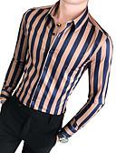 cheap Men's Shirts-Men's Daily Basic Shirt - Striped Brown XL / Long Sleeve