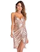 Χαμηλού Κόστους Φορέματα NYE-Γυναικεία Λεπτό Εφαρμοστό Φόρεμα - Μονόχρωμο, Πούλιες Μίντι Τιράντες