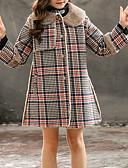 お買い得  女児ジャケット&コート-子供 女の子 ベーシック チェック 長袖 コットン / ポリエステル ジャケット&コート ルビーレッド