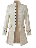 hesapli Erkek Ceketleri ve Kabanları-Erkek Günlük Sokak Şıklığı Büyük Bedenler Uzun Kaban, Solid Dik Yaka Uzun Kollu Polyester Beyaz / Siyah