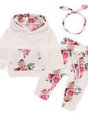 tanie Zestawy ubrań dla niemowląt-Dziecko Dla dziewczynek Aktywny / Podstawowy Codzienny / Sport Nadruk Długi rękaw Długie Bawełna / Poliester Komplet odzieży Biały / Brzdąc