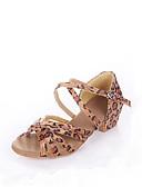 abordables Lencería de Mujer-Mujer Zapatos de Baile Latino / Salón Satén Sandalia Tacón Bajo No Personalizables Zapatos de baile Leopardo / Negro / Azul Real / Niños / Ante