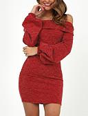 ieftine Sweater Dresses-Pentru femei De Bază / Șic Stradă Zvelt Pantaloni - Mată Fără Spate Roșu-aprins / De Pe Umăr / Ieșire / Super Sexy