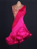 رخيصةأون ملابس رقص لاتيني-الرقص اللاتيني الفساتين نسائي التدريب / أداء سباندكس / تول شرابة / كريستال / أحجار الراين بدون كم ارتفاع عال فستان
