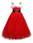 Χαμηλού Κόστους Φορέματα για κορίτσια-Παιδιά Κοριτσίστικα Βασικό Χριστούγεννα / Καθημερινά Μονόχρωμο Μακρυμάνικο Βαμβάκι / Πολυεστέρας Φόρεμα Ρουμπίνι