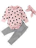 levne Sady oblečení na miminka-Dítě Dívčí Základní Denní Geometrický Dlouhý rukáv Standardní Standardní Sady oblečení Světlá růžová / Toddler