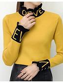 tanie Swetry damskie-Damskie Codzienny Solidne kolory Długi rękaw Luźna Regularny Pulower Czarny / Beżowy / Żółty Jeden rozmiar