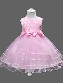 Χαμηλού Κόστους Φορέματα για κορίτσια-Παιδιά Κοριτσίστικα Γλυκός / Πριγκίπισσα Πάρτι / Γενέθλια / Αργίες Φλοράλ Φιόγκος / Επίπεδα Αμάνικο Φόρεμα Φούξια