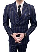 preiswerte Herren Blazer & Anzüge-Herrn Alltag Street Schick Standard Anzüge, Solide Gekerbtes Revers Langarm Polyester Blau / Rote XL / XXL / XXXL / Schlank