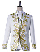 cheap Historical & Vintage Costumes-Prince Cosplay Costume Masquerade Jacket Tuxedo Suits & Blazers Men's Embossed Baroque Medieval 18th Century Halloween Carnival Festival / Holiday Polyster White Carnival Costumes Plus Size Solid
