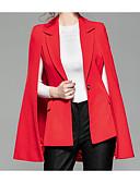 baratos Vestidos para Trabalhar-Mulheres Diário Negócio Padrão Terno, Sólido Colarinho de Camisa Manga Longa Poliéster Preto / Vermelho S / M / L