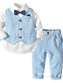 billige Sett med Gutter babyklær-Baby Gutt Aktiv / Grunnleggende Daglig / Skole Ensfarget Langermet Normal Bomull / Polyester Tøysett Beige