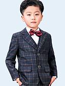 ราคาถูก ชุดสูทสำหรับเด็ก-สีเทา 100% ผ้าขนสัตว์ชนิดหนึ่ง แหวนสูทถือ - 5 รวม โบว์ไท