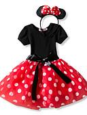 Χαμηλού Κόστους Φορέματα για κορίτσια-Πριγκίπισσα Βίντατζ Στολές Κοριτσίστικα Παιδικά Φορέματα Κοστούμι πάρτι Καλύμματα Κεφαλής Κόκκινο / Ροζ Πεπαλαιωμένο Cosplay Αμάνικο Φανέλα