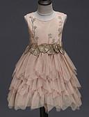 cheap Junior Bridesmaid Dresses-A-Line / Princess Short Length / Medium Length Flower Girl Dress - Organza / Tulle / Satin Chiffon Sleeveless Jewel Neck with Appliques / Fringe / Solid by LAN TING Express